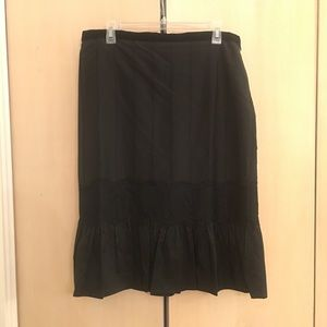 Ann Taylor LOFT black pleated skirt with lace
